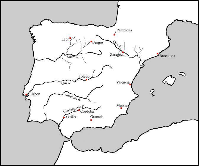 Spain Rivers Cities