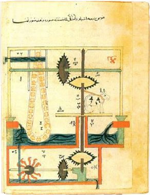 A complicated drawing involving two levels of water, a cow, and several gears.
