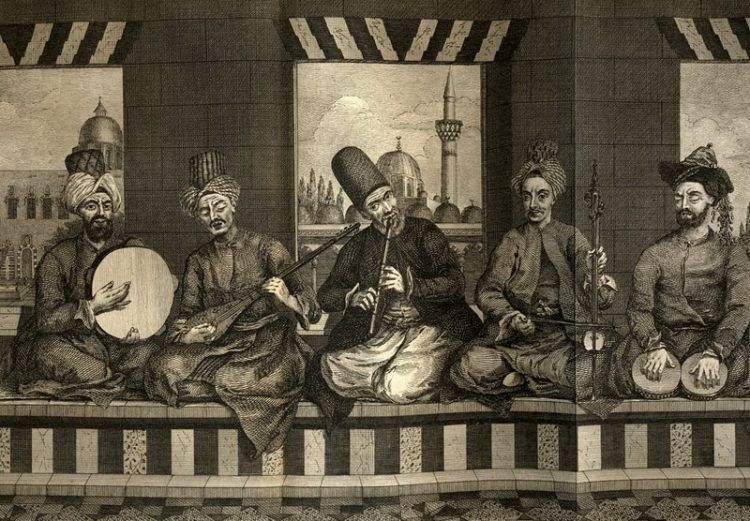 A drawing of five sitting musicians playing various instruments.