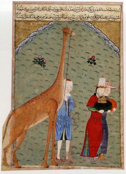 A colored drawing of three men with gifts, including a giraffe.