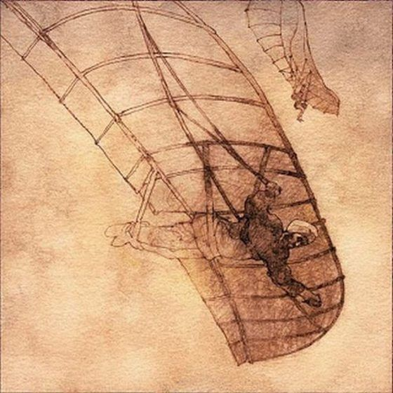 An uncolored drawing of a man beneath a glider.