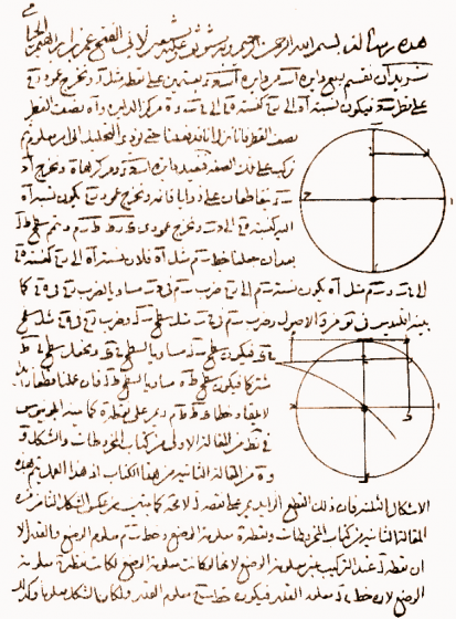 A page of arabic text and geometric drawings.