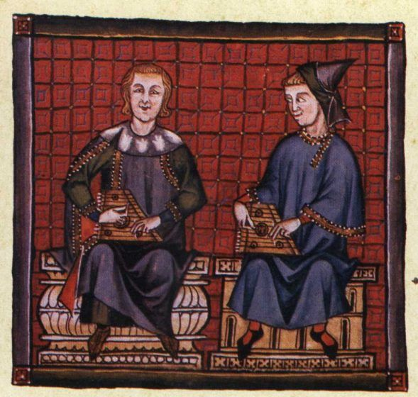 A colored drawing of two men playing zithers while sitting.