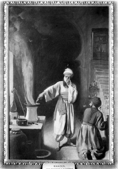 al-Razi covering his face with a cloth over a steaming/smoking pan while another man looks on.