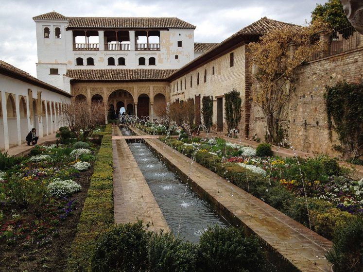 A garden with a water feaure runs through the courtyard of a building.