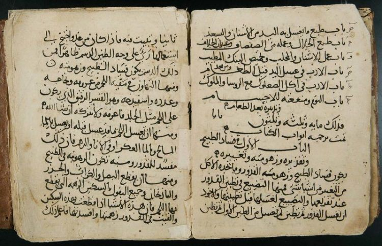 An open book showing Arabic text