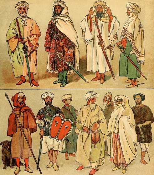 Several peope wearing a variety of clothes, in order to depict the standard garments of social classes.