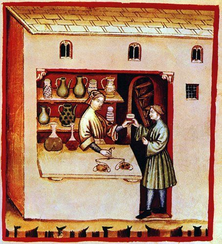 An illustration of a pharmacist handing a man a cup from behind his counter.