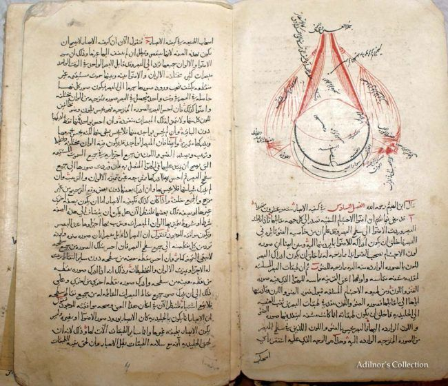 An open book with black arabic text on the left side and an detailed illustration of an eye on the other.