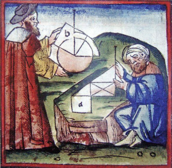 A colored illustration of two men with geometic figues.