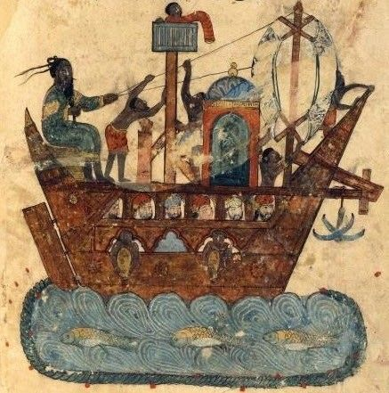 A painting of a wooden boat.