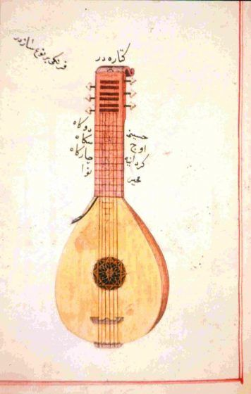 An arabic notated drawing of the musical predecessor to the modern-day guitar.