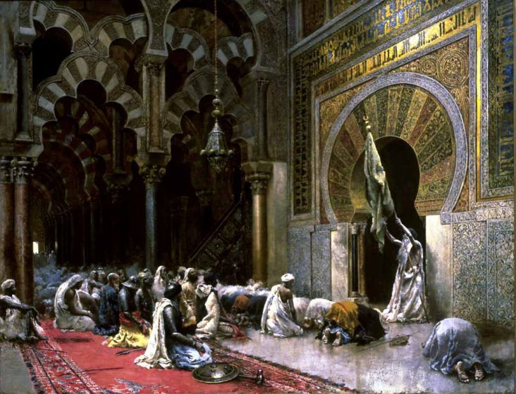 A painting of a service in the Great Mosque of Cordoba.