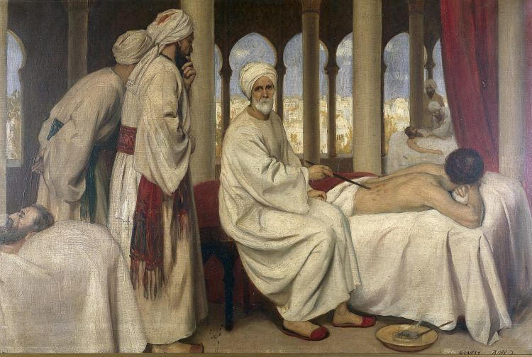 A sitting Andalusian physician blistering a patient.