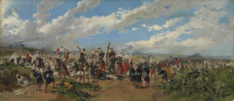 A painting of the Battle of Guadalete.