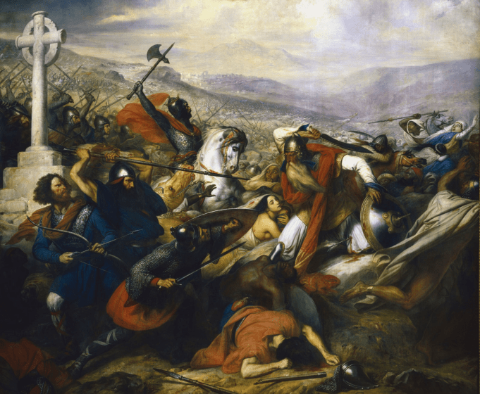 Charles Martel and al-Ghafiqi at battle.