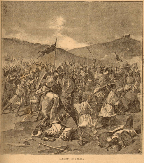 An illustration showing a battle between Muslim and Christian forces.