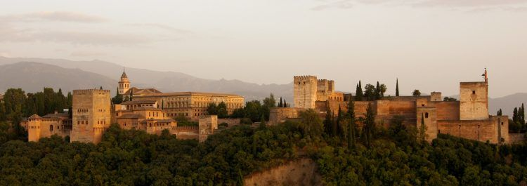 A picture of the Alhambra at dusk.