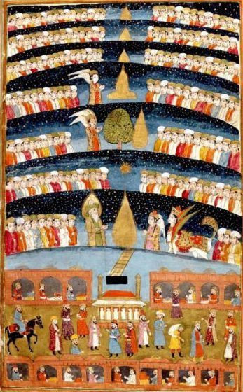 A painting of the seven levels of heaven.