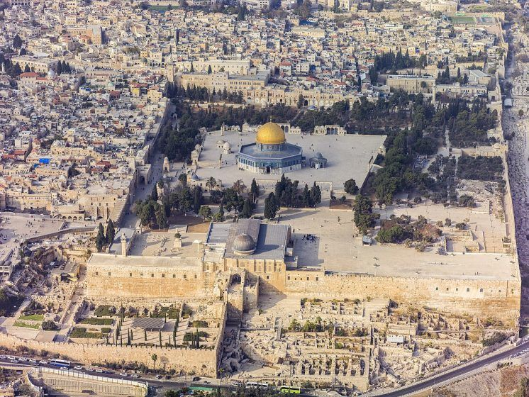 Part of the Old City of Jerusalem showing significant religious monuments.