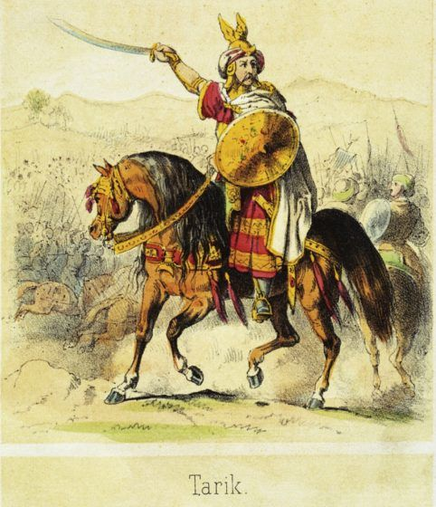 A painting of Tariq ibn Ziyad on a horse, with his army in the background.