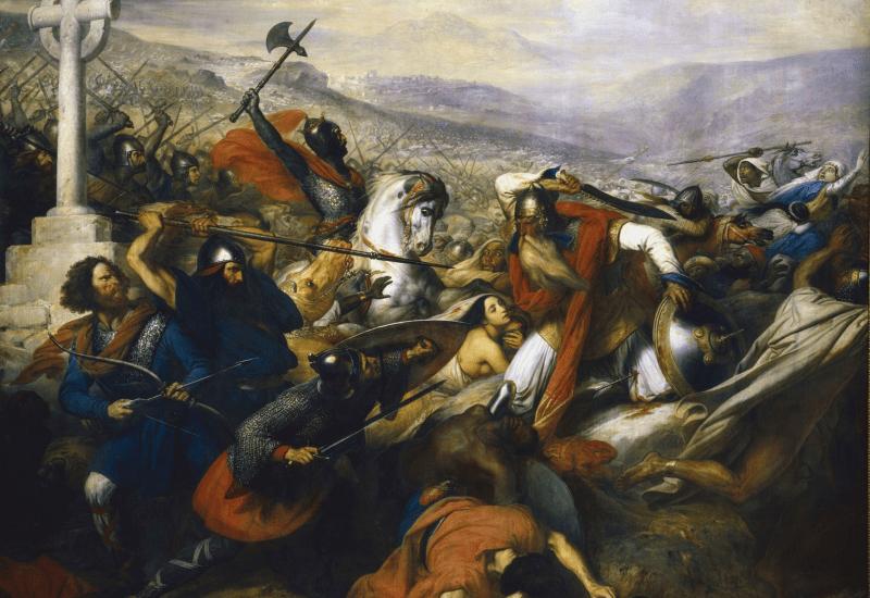 Charles Martel and al-Ghafiqi at battle.