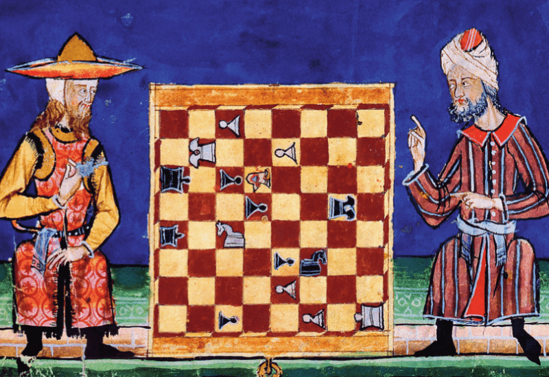 A colored drawing of a Jew and a Muslim playing chess in 13th century al-Andalus.